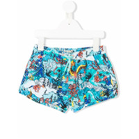 Kenzo Kids logo sea creature printed swim shorts - Blue