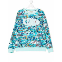 Kenzo Kids TEEN sea creature printed sweatshirt - Blue