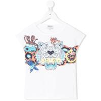 Kenzo Kids cap sleeve print T-shirt - White