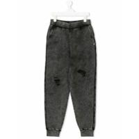 Patrizia Pepe Junior TEEN faded-wash track pants - Grey
