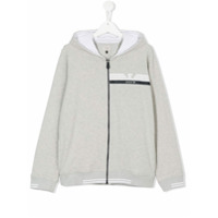 Armani Junior TEEN logo print zip-up hoodie - Grey