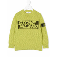Stone Island Junior intarsia logo jumper - Green