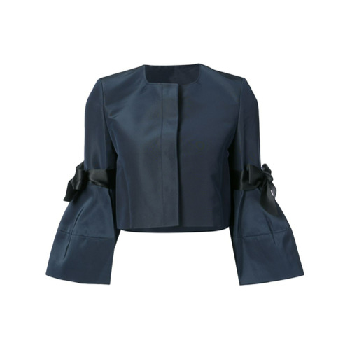 Billede af Carolina Herrera bow detailed faille bell sleeve jacket - Blue