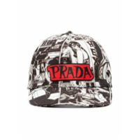 Prada cartoon print cap - Black