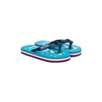 Boss Kids logo flip flops - Blue