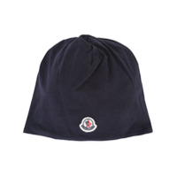 Moncler Kids logo patch beanie - Blue