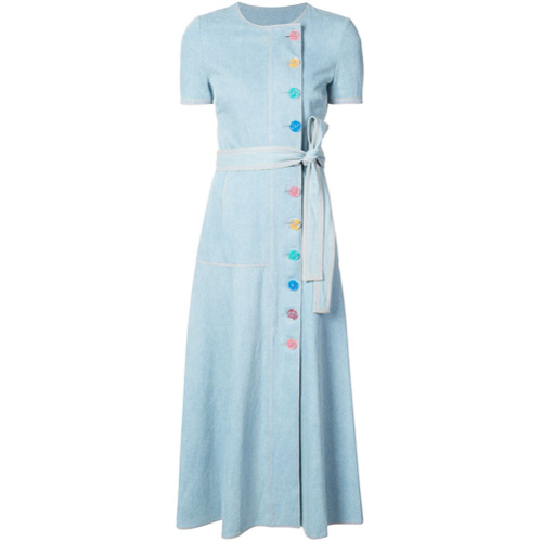 Billede af Carolina Herrera belted denim dress - Blue