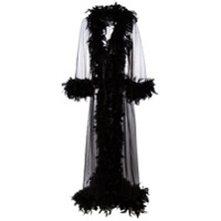 Folies By Renaud feather trim sheer robe - Black