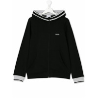 Boss Kids contrast-trim zip-up hoodie - Black