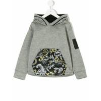 Young Versace printed detail hoodie - Grey