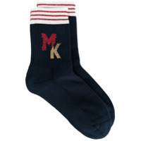 Maison Kitsuné intarsia logo socks - Blue