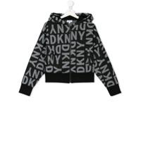 Dkny Kids logo zip hoodie - Black