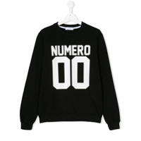 Numero00 Kids TEEN logo print sweatshirt - Black