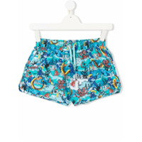 Kenzo Kids TEEN sea creature logo print swim shorts - Blue