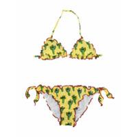 Mc2 Saint Barth Kids TEEN cactus print bikini set - Yellow & Orange