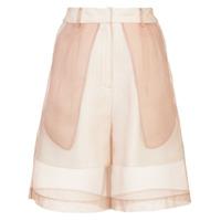 Kimhekim wide-leg organza shorts - Nude & Neutrals