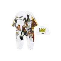 Dolce & Gabbana Kids dog print pajamas and hat - White