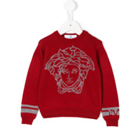 Young Versace intarsia-knit sweater - Red