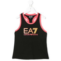 Ea7 Kids logo print tank top - Black