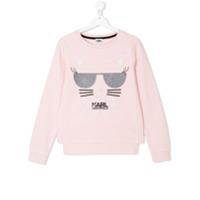 Karl Lagerfeld Kids TEEN cat print sweatshirt - Pink & Purple