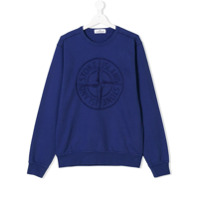 Stone Island Junior TEEN logo embroidered sweatshirt - Blue