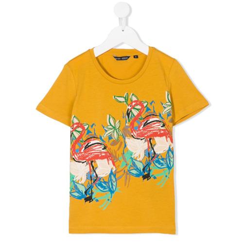 Styletorch Flamingo Print T Shirt Yellow Orange