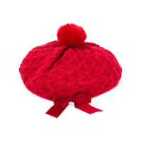 Miki House pom-pom embellished beanie - Red