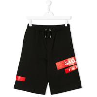 Gaelle Paris Kids TEEN patch appliqué track shorts - Black