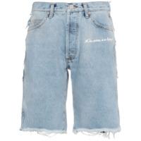 Natasha Zinko mid rise patchwork denim shorts - Blue