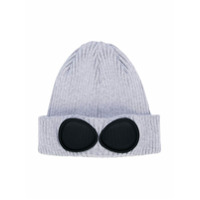 Cp Company Kids goggle detail rib knit hat - Grey