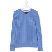 Ralph Lauren Kids cable knit jumper - Blue