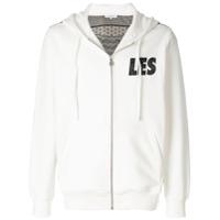 Les Benjamins zipped logo print hoodie - White