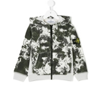 Stone Island Junior camouflage zipped hoodie - Grey