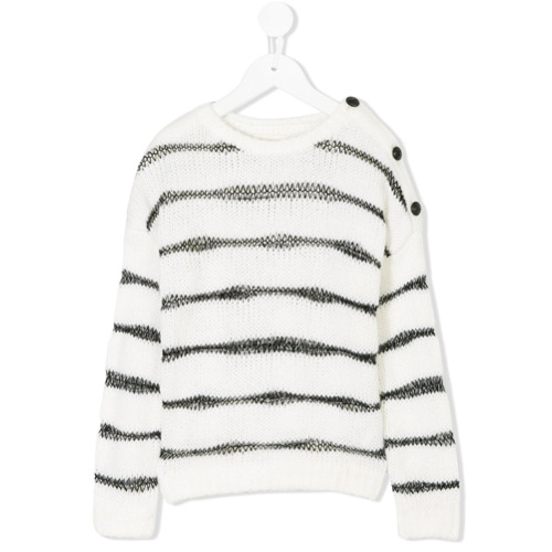 Billede af Zadig & Voltaire Kids button detail striped sweater - White