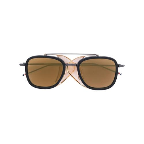 Bild på Thom Browne Eyewear Black & Gold Mesh Side Sunglasses