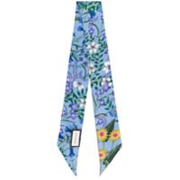 Gucci New Flora print neck bow - Blue