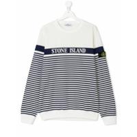 Stone Island Junior TEEN striped print sweatshirt - White