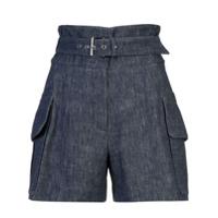 Derek Lam Belted Short With Patch Pockets - Blue