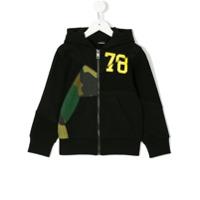 Diesel Kids camo panel full zip hoodie - Black
