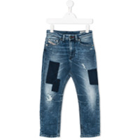 Diesel Kids distressed patch-detail jeans - Blue