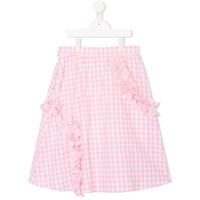 Msgm Kids check ruffle skirt - Pink & Purple