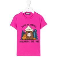 Dsquared2 Kids bear print T-shirt - Pink & Purple