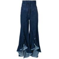 Sara Battaglia ruffle hem flared jeans - Blue