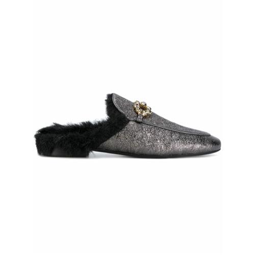 Billede af Caruso embellished fur mules - Black