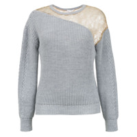 Nk lace detail knit blouse - Grey