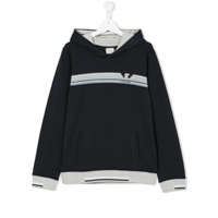 Armani Junior TEEN logo print hoodie - Blue