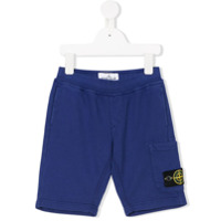 Stone Island Junior logo patch sweatshorts - Blue