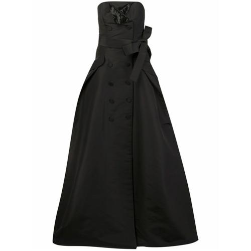 Billede af Carolina Herrera button detailing strapless gown - Black