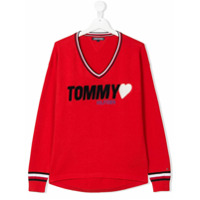 Tommy Hilfiger Junior TEEN iconic badge V-neck sweater - Red