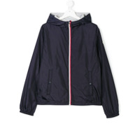 Moncler Kids hooded zipped lightweight jacket - Blue
